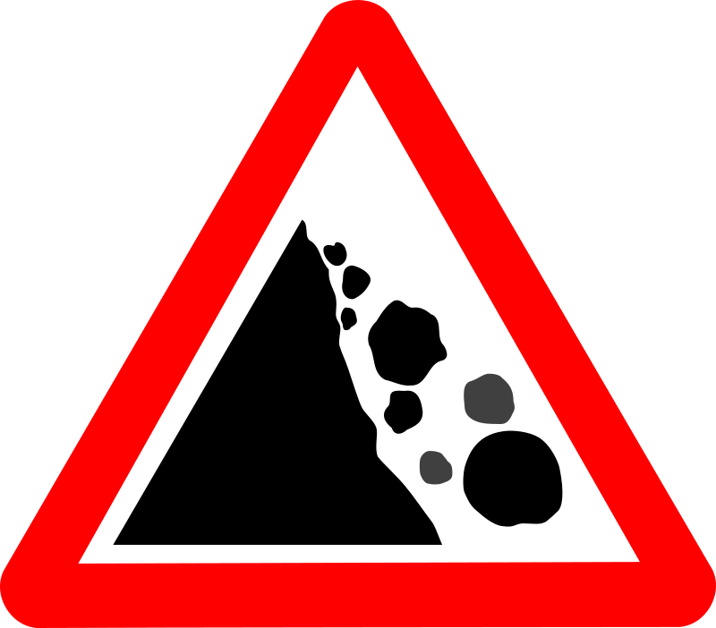 Roadsign Falling rocks by Simarilius - 'Falling rocks' roadsign by John Cliff. From OCAL 0.18 release.