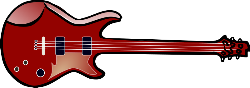 Bass guitar by TheresaKnott - A red bass guitar.