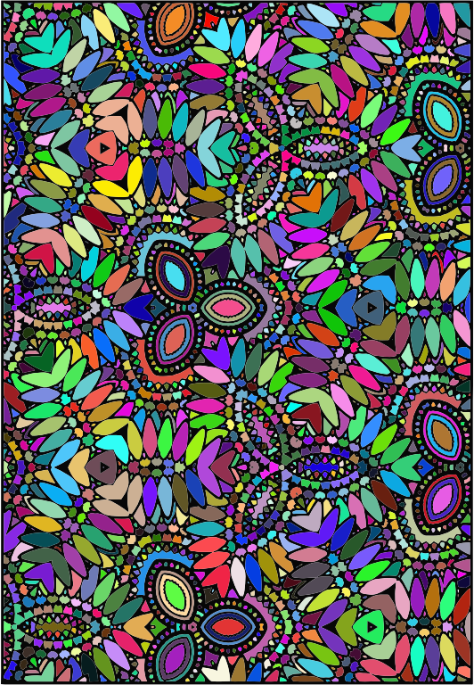 Clipart - Prismatic Abstract Floral Coloring Design