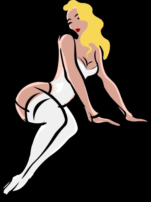 Clipart - Lingerie model, light skin, blonde hair, white clothes