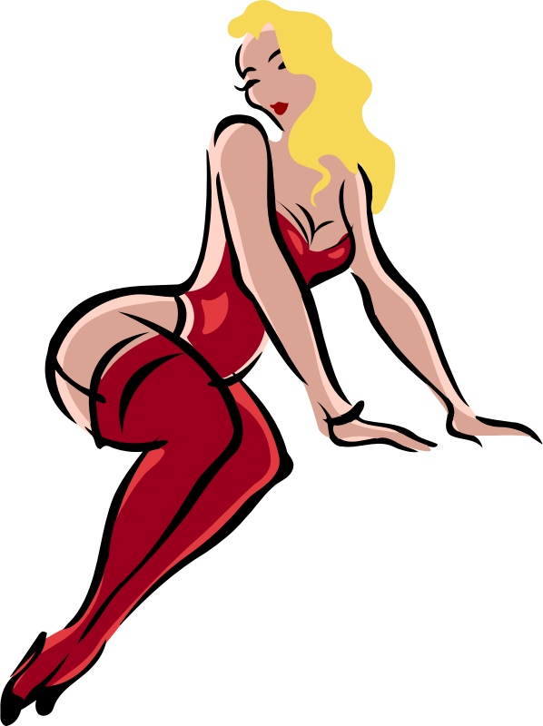 Clipart Lingerie Model Light Skin Blonde Hair Red Clothes