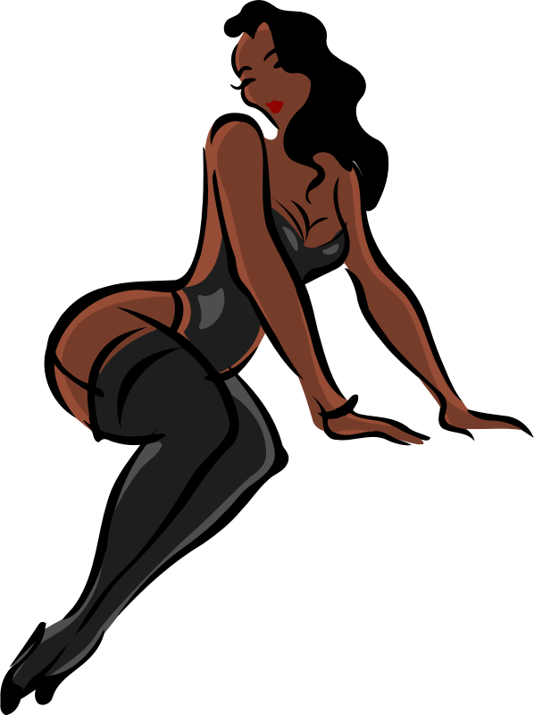 clipart   lingerie model dark skin black hair black clothes