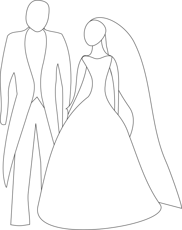 Bride and Groom by kattekrab - Very simple bride and groom line art. Raising and Lowering the z-order of the dress in the SVG creates a strapless version.