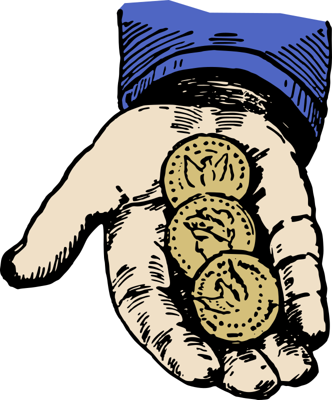 Clipart - Hand With Coins