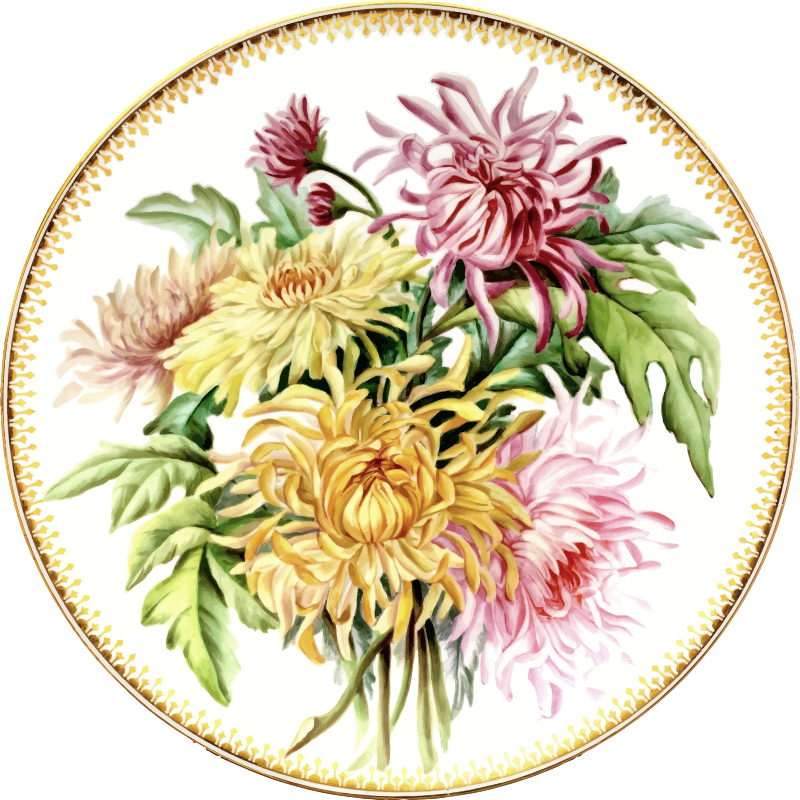 Clipart - Flowery plate