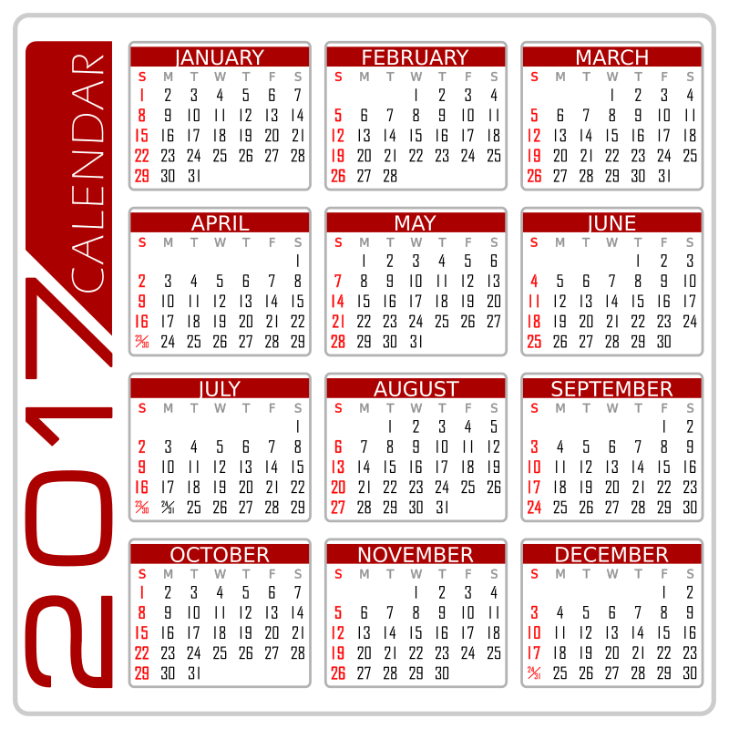 Clipart - Calendar 2017 - English Version (White and Red-I)