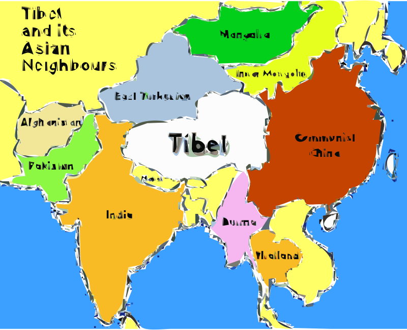 Plateau Of Tibet On Map Of Asia.Clipart Tibet Map