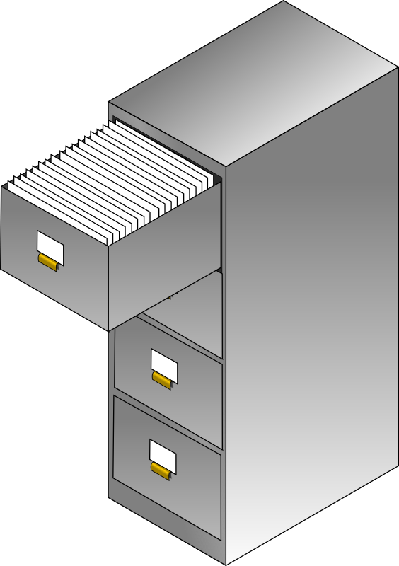 Filing cabinet by Crimperman - And isometric filing cabinet with the top drawer open