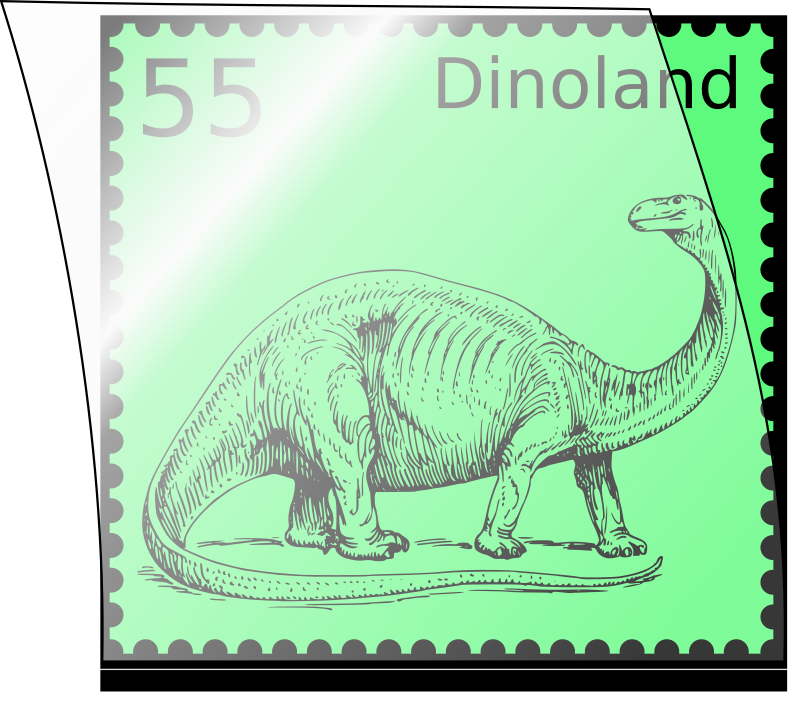 Dino stamp in stamp mount by kuhlo - A dinosaur stamp mounted in an opened stamp mount.