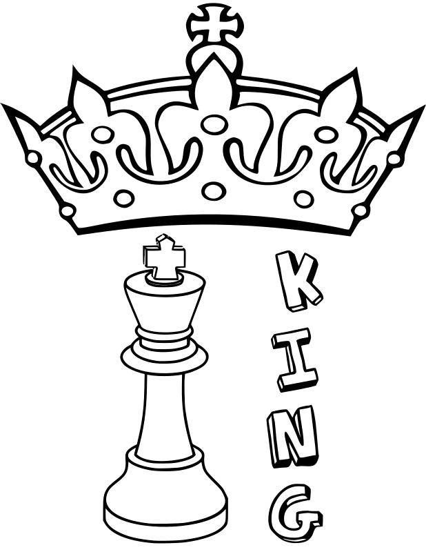 Clipart - Chess coloring book / Dibujo Ajedrez para colorear -4-