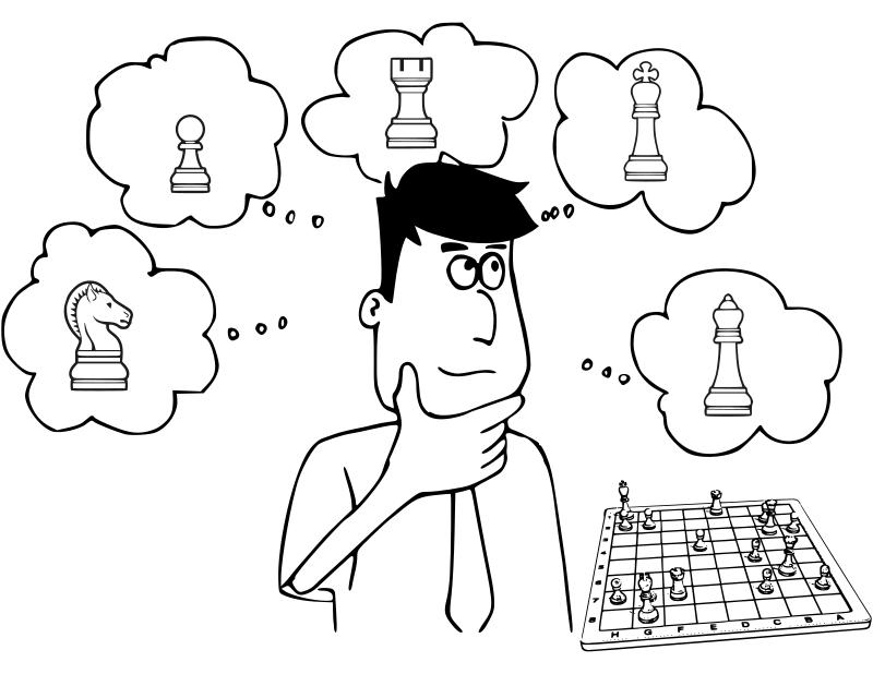 Clipart - Chess coloring book / Dibujo Ajedrez para colorear -9-