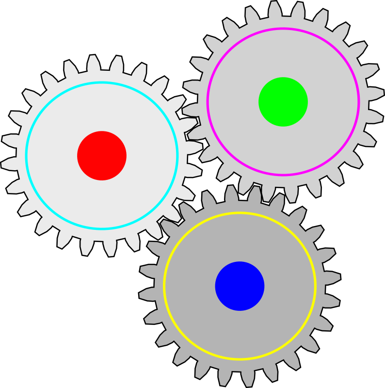Impossible gears by J_Alves - Three gears in an impossible (or at least immovable) arrangement. Done in Inkscape.