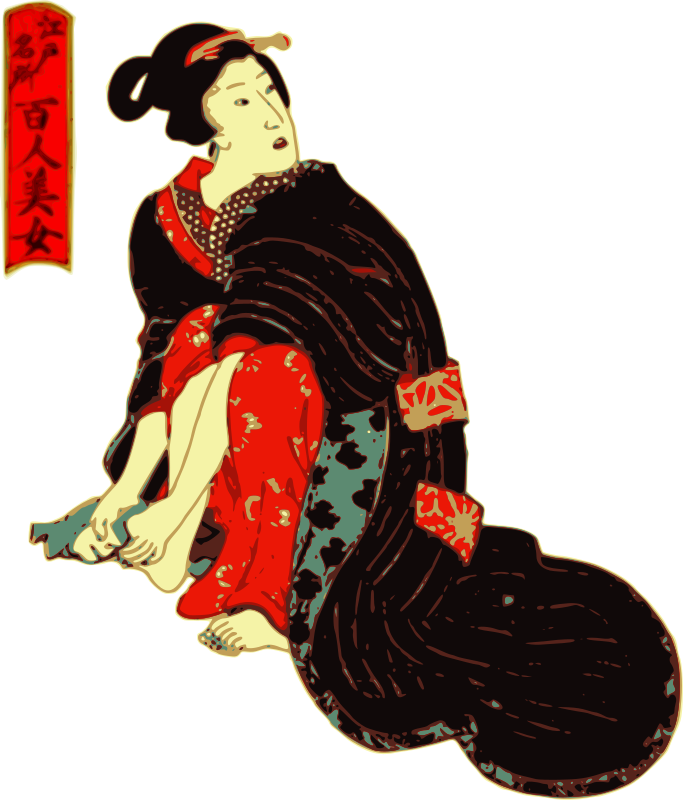 Woman in a Kimono cleans her feet by j4p4n - I based this on a picture from the National Diet Library (of Japan). That image was very old, and is undoubtedly in the public domain. I did this one in color. If you are wondering the Japanese title stamp next to her says somethi