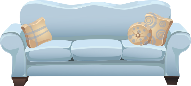 Clipart powder blue sofa for Sofa clipart