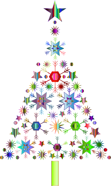 Clipart abstract snowflake christmas tree by karen
