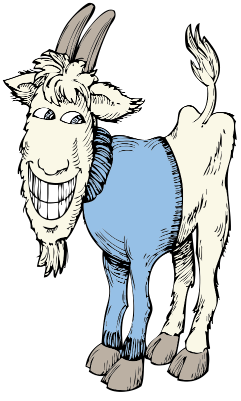 goat in a sweater by johnny_automatic - a cartoon of a smiling goat in a sweater from a U.S. patent drawing