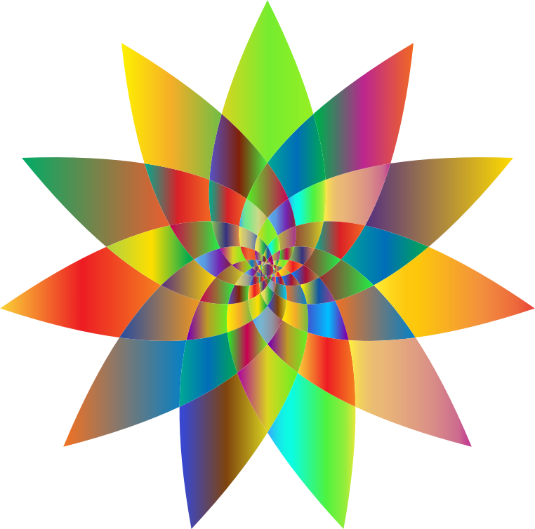 Abstract Flower Line Drawing : Clipart prismatic abstract flower line art