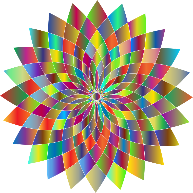 Abstract Flower Line Drawing : Clipart prismatic abstract flower line art ii