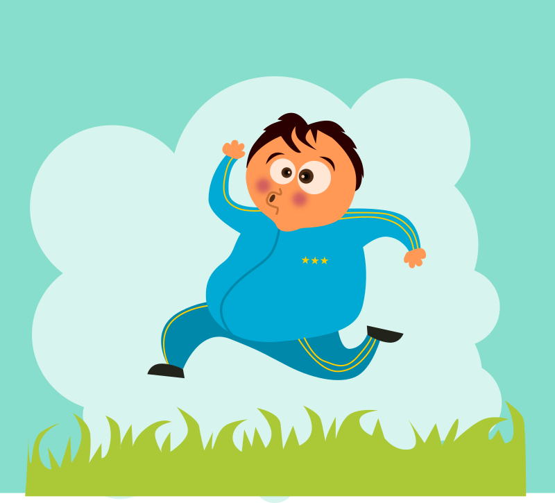 Jog by kablam - A cartoon of a fat guy jogging. Created by Pencilsauce.com using Inkscape from inkscape.org