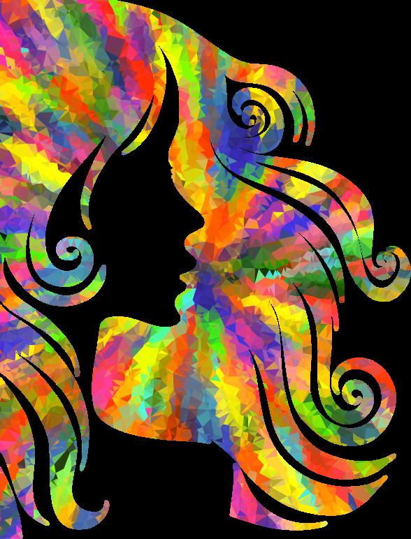 2017 fashion description - Clipart Low Poly Splash Of Color Female Hair Profile
