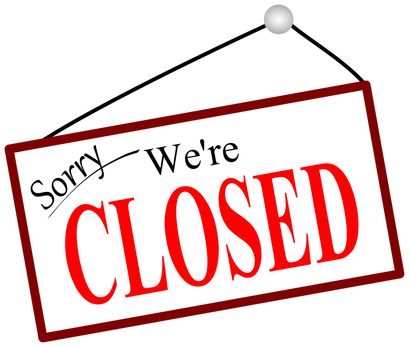 Clipart - Sorry we're closed door sign