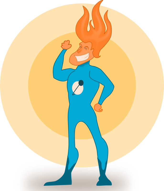 Super Hero - Flame by kablam - A Superhero who controls flame. Created by pencilsauce.com using Inkscape from inkscape.org