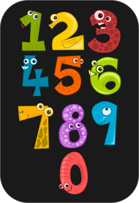 Number Animals by kablam - A series of cartoon number animals from 1 to 10. Great for Kids posters on counting. Created by pencilsauce.com using inkscape from inkscape.org.