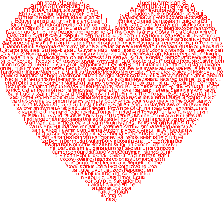 Clipart World Countries Heart Typography