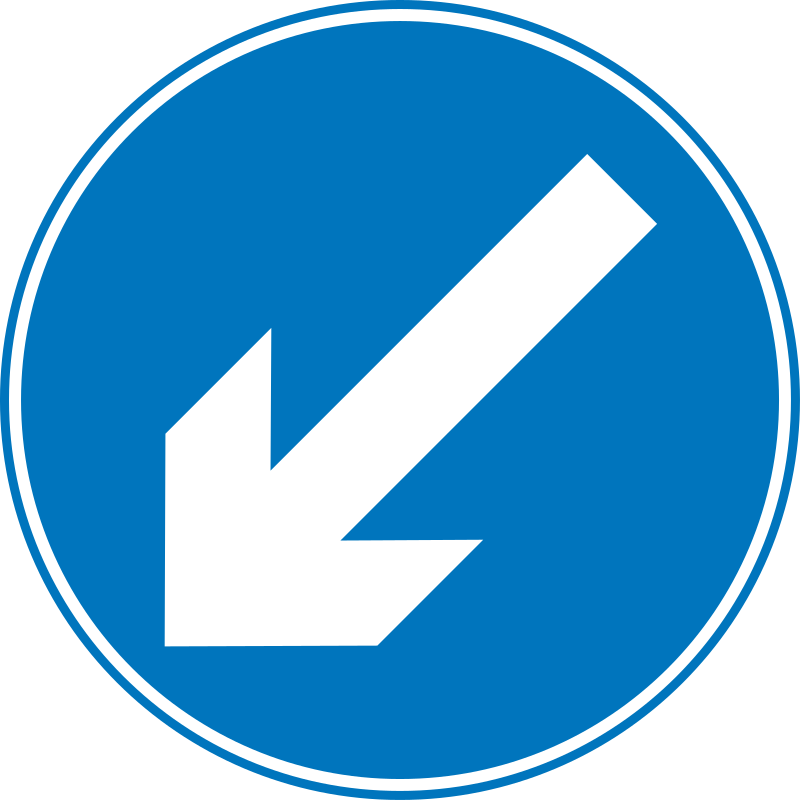 Roadsign Keep left by Simarilius - Roadsign with left arrow by John Cliff. From OCAL 0.18 release.