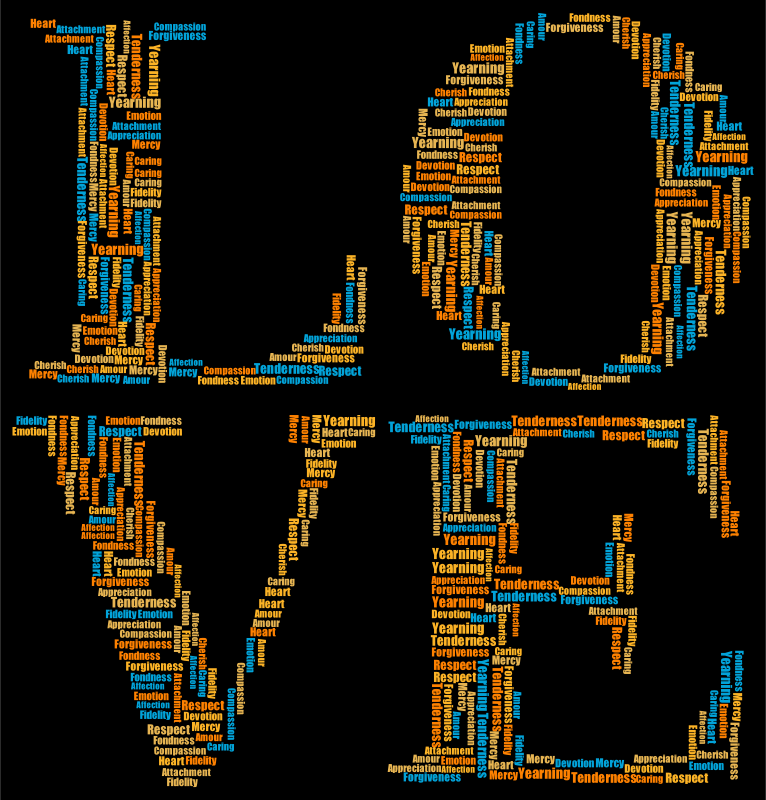 Clipart Love Word Cloud Typography