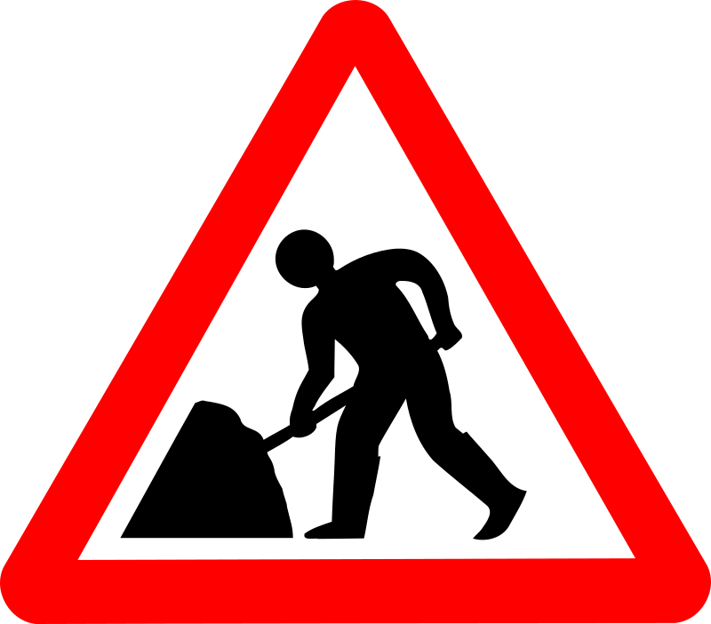 "Roadsign man w umbrella by Simarilius - Roadsign ""men working"" by John Cliff. From OCAL 0.18 release."