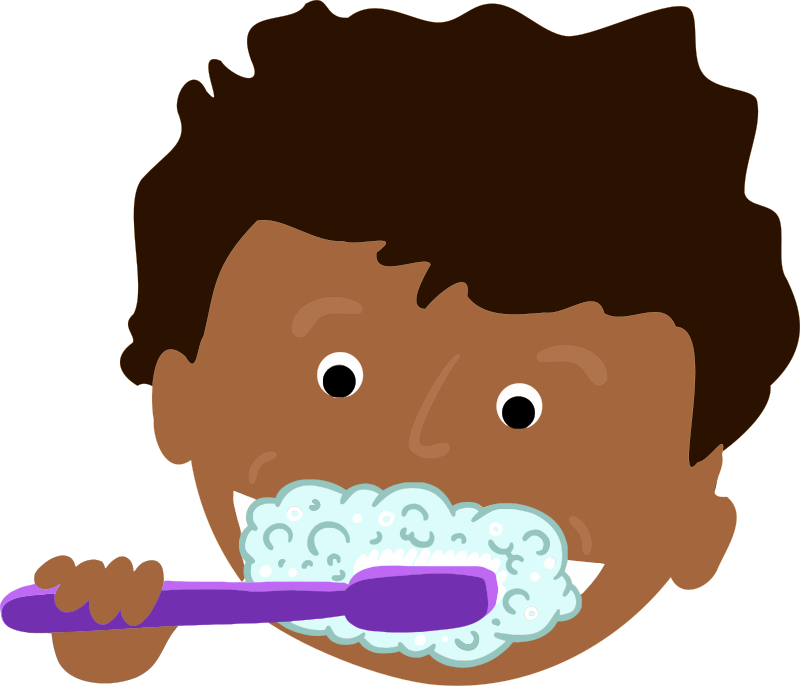 Clipart - African Kid Brushing Teeth