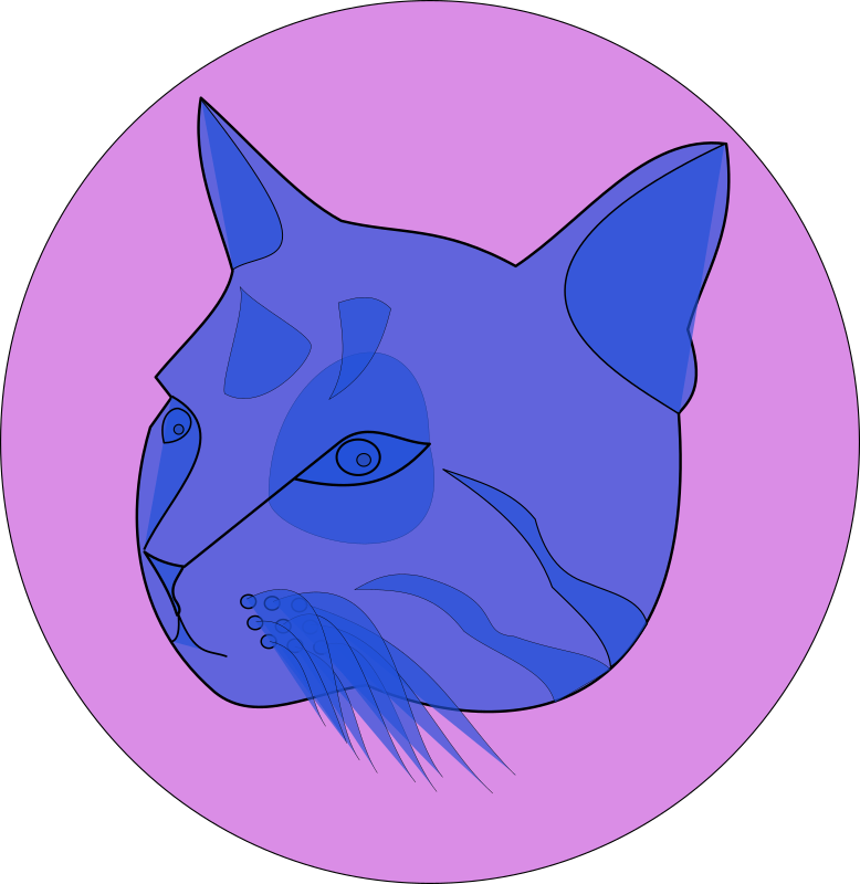 blue cat by themanwithoutsex - blue cat in front of purple circle