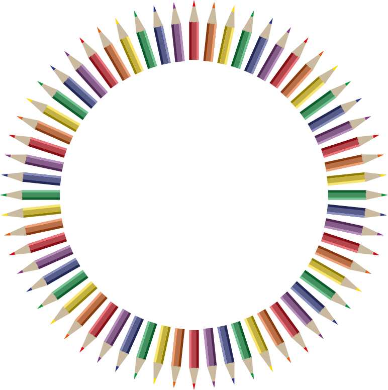Clipart Colorful Pencils Frame 4
