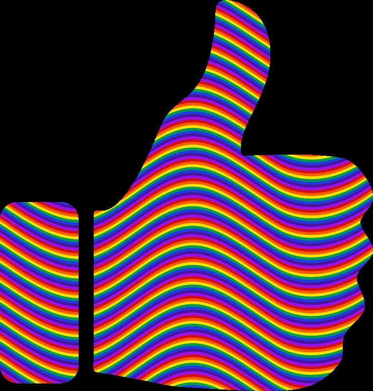 Clipart Rainbow Waves Thumbs Up