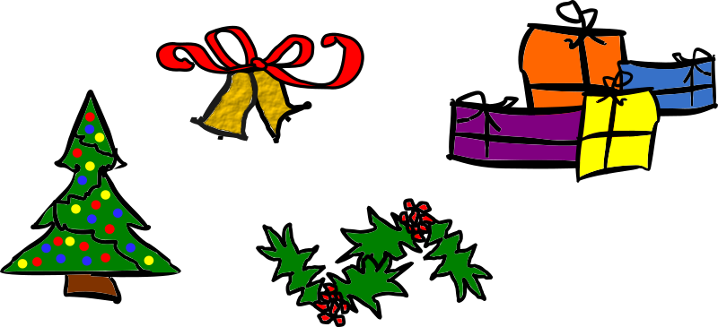 Christmas Motifs by kattekrab - A collection of Christmas motifs, including a xmas tree, bells, holly and gifts or presents. Drawn in a rough style with a thick black outline an bold flat colours. The bells use an inkscape filter, which may not render correctly for all users.