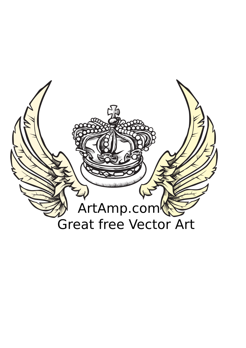 Crown and Wings Herolday Elements by ArtAmp - Wings and crown clip art images with a hand drawn look.