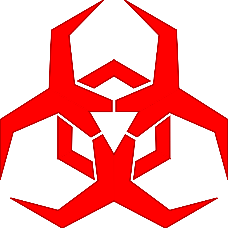Malware Hazard Symbol - Red by PBCrichton - Symbol to label potential sources of malware. Based on the standard biohazard symbol. This variation red with stroke edges