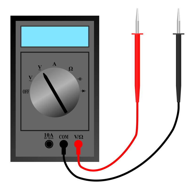 Voltmeter Clip Art : Clipart multimeter with leads