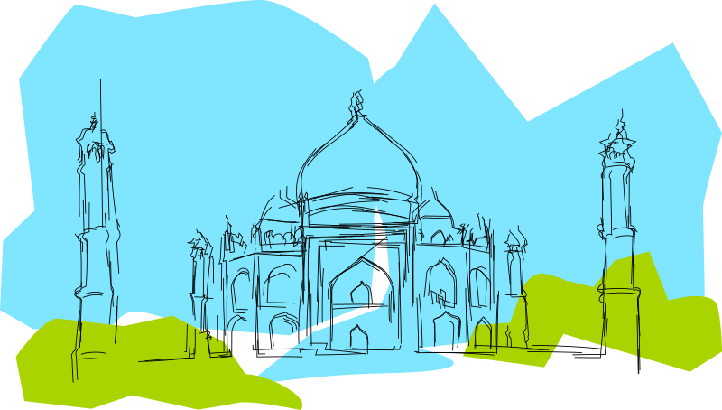 India The Taj Mahal by kablam - drawn by pencilsauce.com using the cool new feaures in Inkscape o.47. Download it at www.inkscape.org. A sketch of the Taj Mahal. The Taj was built by a Mughal king