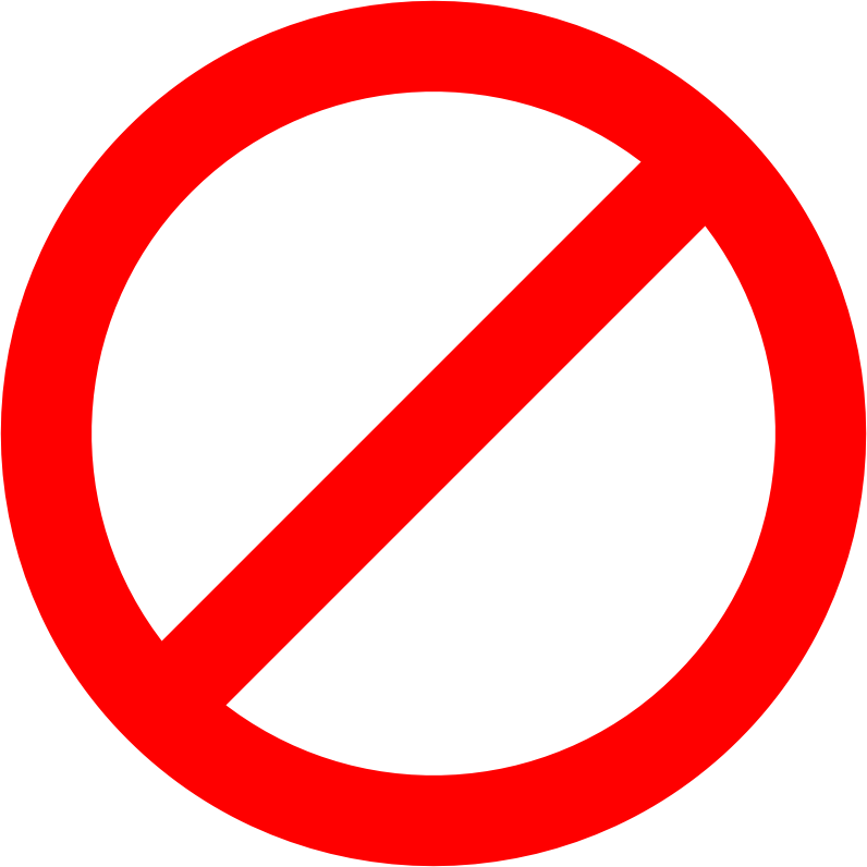 "No-sign by skotan - Red circle with diagonal stroke. Intended as an overlay over other graphics to create ""No ‹blank›!"" signs."