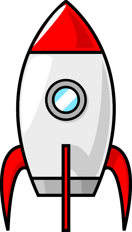classic red and white rocket to the moon.