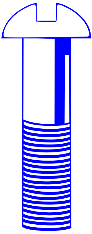 Machine Screw - Blue by Rfc1394 - A machine screw image in blue. A similar image of a wood screw (a screw where the threads taper to a point at the end) is also available in this collection.