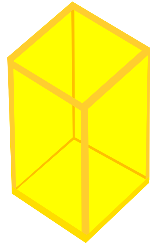 Yellow Transparent Cube by Rfc1394 - A transparent elongated cube in yellow. There is one in cyan blue also available.