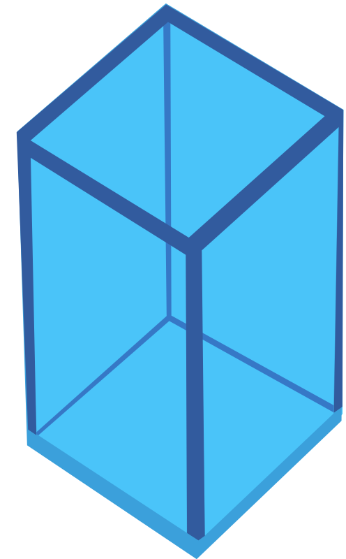 Cyan Transparent Cube by Rfc1394 - A cyan blue elongated cube. There is also one available in yellow.