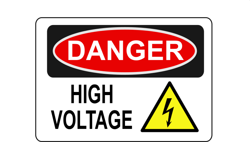 Danger - High Voltage (Alt 1) by Rfc1394 - High voltage danger sign - Alternate 1 (with symbol)