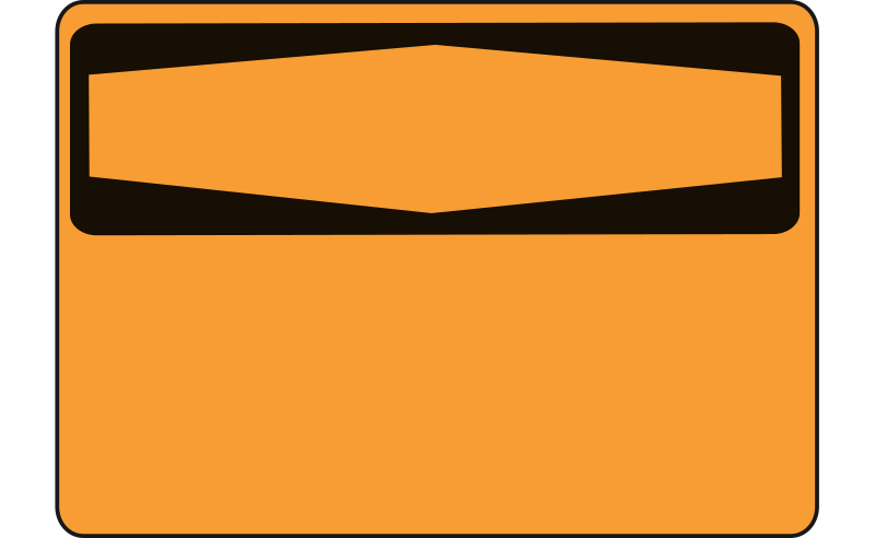Warning - Blank (orange) by Rfc1394 - A warning sign (orange) with the bottom blank for use either in creating new warning signs or where the warning is to be written in. A different version in Green is available in this collection.