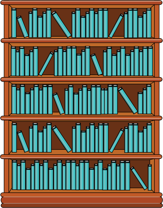 Clipart Bookshelf With Blue Books