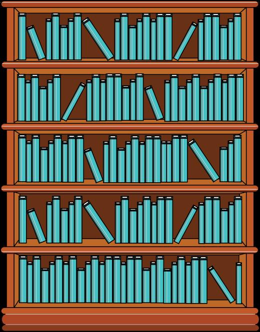Clipart - Bookshelf with Blue Books