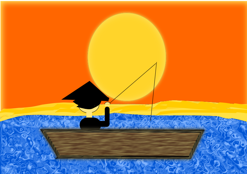 Chinese Man in a Boat under a Sunset by lesnivila - A traditional chinese man on a blue lake in a boat who is hunting fish under a glowing sunset.